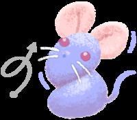 まあるいネズミがねじれるイラスト素材