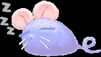 まあるいネズミが寝るイラスト素材