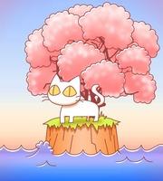 ネコ島・桜の木ver・イラスト素材
