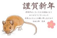 リアルめのネズミ年賀状・ヨコ