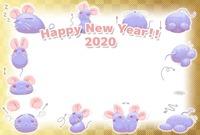 まあるいネズミの運動年賀状・ヨコ