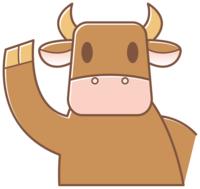 手をふる牛イラスト素材